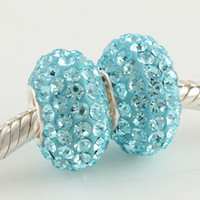 Wholesale Charms Beads Shallow blue wathet Crystal Rhinestone Soild Silver European Jewelry Bracelet SZ309