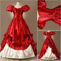 victorian ball gown wedding dresses - 2015 Vintage Puff Sleeves Unique Cheap Red and White Bow Gothic Victorian Ball Gown Wedding Dresses Custom Made Garden Vestido