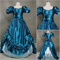 Wholesale 2013 Vintage Puff Sleeves Unique Cheap Blue and White Bow Gothic Victorian Ball Gown Wedding Dresses