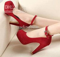 Wholesale 2012 Wedding Bridal Shoes Ankle Strappy Platfom Pumps Colors Blue Red Black