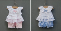 Wholesale girls summer clothing set bow knot tiered lace white blouses shirt polka dots bloomers shorts