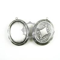 Unisex antiqued brass necklace - 30x40MM setting size vintage brass antiqued silver oval locket pendant photolocket photo locket1