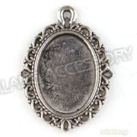 Fashion bank pendants - 60pcs New Design New Oval Blank Bank Charms Pendant Alloy Antique Silver Plated Finding Fit Find