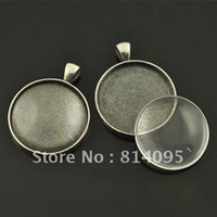 Wholesale 30mm Black Gun blank pendant trays matching clear glass cabochons for custom photo jewelry making