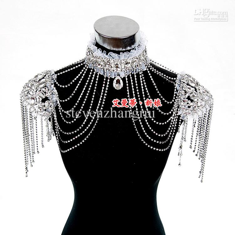 New Style Epaulet Jacket Crystal Jewelry Necklace Earrings Sets Wedding Bridal Dresses Dress