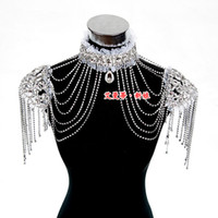 Wholesale New Style Epaulet Jacket Crystal Jewelry Necklace Earrings Sets Wedding Bridal Dresses Dress Gown
