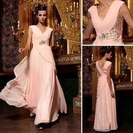 Wholesale Quicker DHL New A Line V Neck Ankle length Lace Rhinestone Pink Evening Dresses