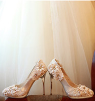 Silver PU Appliqued 2013 New Style Elegant Lace Bridal High Heel Wedding Shoes Waterproof Cheap Party Prom Shoes