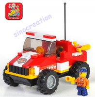 Plastics M38-B0217 Mini Rescue Truck  Sluban Fire Toy Series Children's DIY Mini Rescue Truck Educational Blocks Toy Set M38-B0217