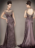 Wholesale Exquisite Open Back Lace Prom Occasion Dress Vintage High Collar Cap Sleeves Formal Evening Gown