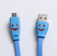 Wholesale OTG USB Data Sync LED Light Smile Face V8 Charger noodle Cable line For Samsung MOTO Sony phone