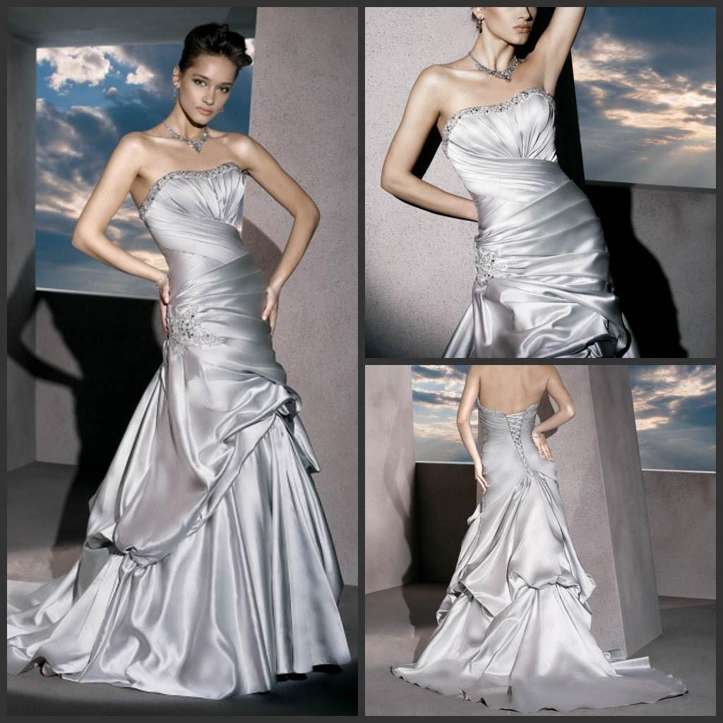 A Line Charcoal Gray Wedding Gowns Taffeta Strapless Lace