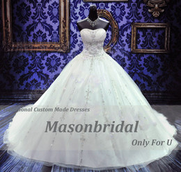 Wholesale 2014 New Style Sweetheart Bending Sequin Tulle Chapel Train Ball Gown Empire Gorgeous Wedding Dresses Bridal Gowns