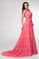 Abiti da sera rosa Bateau Prom Dresses Cap Steeve una linea in rilievo pieghettato Fringe Sash Brush partito