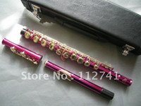 Wholesale New Arrival pink gold buttons Flute With hard case