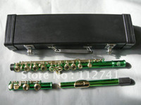 Wholesale New Arrival Advanced Carved Green Body Gold Key flute With hard case
