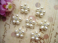 Wholesale 22mm Hair accessories Pearl Rhinestone Buttons jewelry accessories
