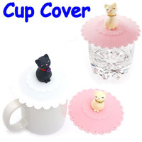 Wholesale Novelty Lovely Cat Silicone Airtight Coffee Cup cover Mug Lid Cup Cap FreeShipping