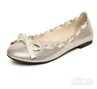 Wholesale 2012 Fashion Graceful Gold Black Lace With Ribbon Bow Flat Heel Doll Shoes For Women