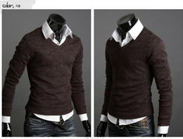 Wholesale Qltrade_3 California rabbit wool men s sweater brown Plush V_neck Knitting Sweater Pullover