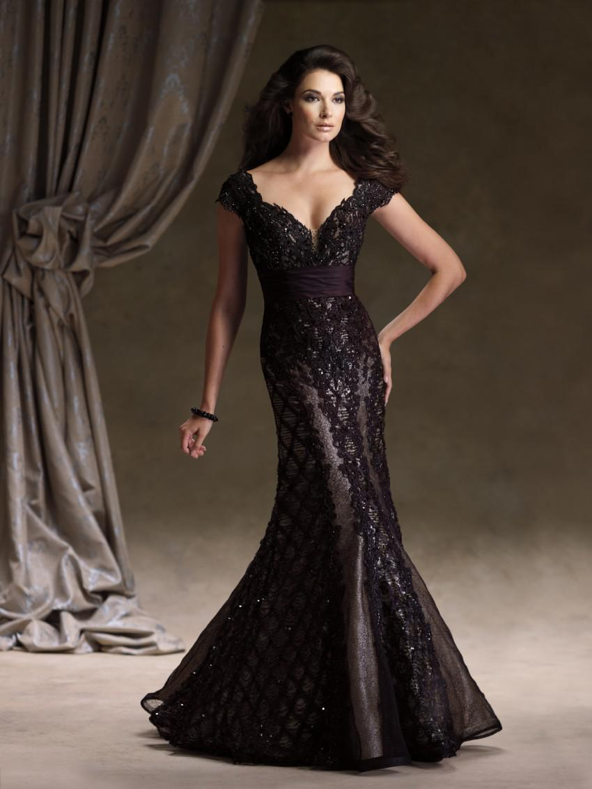 2013 New Arrval Luxury Black Lace Mermaid Evening Dress V Neck ...