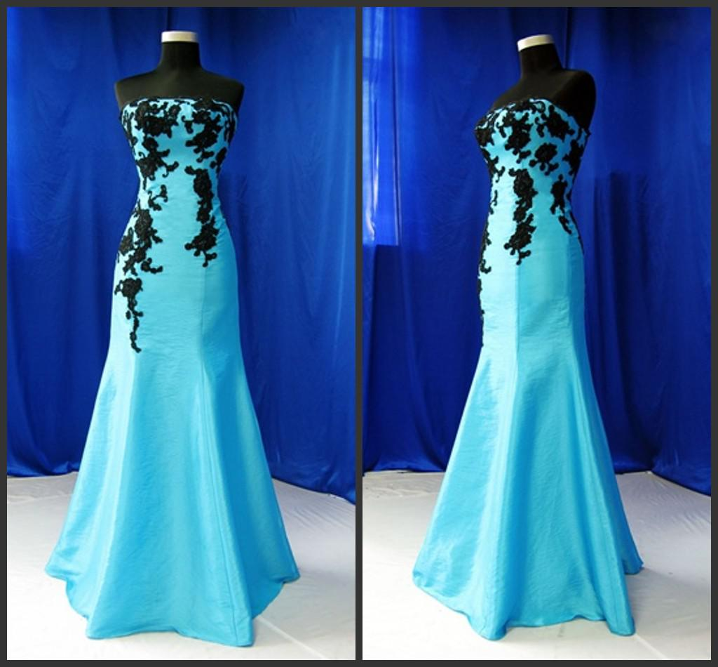 2017 Strapless Long Ice Blue Black Lace Mermaid Real Picture of ...