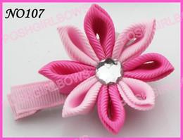 free shipping 45 pcs 2-2.5'' fashion kanzashi flower hair clips mix color badge reel hair clips