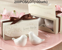 Wholesale Cheapest Wedding Favors of Lovebirds Ceramic Salt and Pepper shakers sets topquality