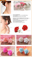 Wholesale 10 Pair Lovely Sweet Carved Rose Flower Ear Stud Earrings Colors in choice