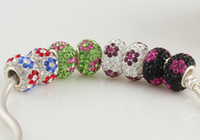 Wholesale Loose Charm Beads Crystal Rhinestones Sterling Silver European Jewelry Fashion Bracelet SZ431