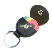 Wholesale Guitar Bass Pick Bags Genuine Leather Keychain Picks Case Bag Plectrum Pick Black Holder