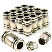 Wholesale 198pcs antique silver magnet clasp tube with hole mm PT