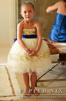 Wholesale Gorgeous Sparkling Sequined Ballgown Flower Girl Dresses Strapless Knee Length Children Party Gowns Hot