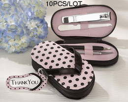 10pcs lot Party Favors Pink Polka Flip Flop Pedicure Set Wedding gifts and Bridal shower Free ship
