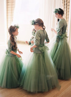 Wholesale Amazing Lovely Green Long Sleeves Princess Flower Girl Dresses for Wedding Tulle Kids Party Pageant Gown Junior Bridesmaid Dresses