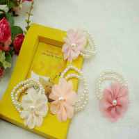 Wholesale Fashion Beautiful Imitation Pearl Bracelets For Girls Children Jewelry With Flowers