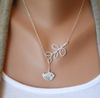 Wholesale SALE silver jewelry woman retro bird branches necklace collarbone chain l