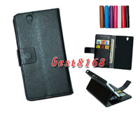 Wholesale Leechee wallet Leather pouch credit money stand Case for Sony Ericsson xperia Z case L36h