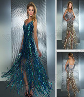 2013 Fashion Evening Dresses Peacock Silver Rude Spaghetti S...