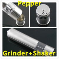 Wholesale 2015 New High quality Stainless Steel Electric Pepper Mill Grinder Pepper Salt Shaker Container set