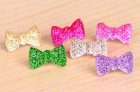 Wholesale Crystal Bowknot Dustproof Plug Anti Dust for mm Headphone Jack iphone S iphone ipad mini