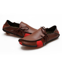 al por mayor los zapatos de los conductores-Resbalón ocasional de la manera de los hombres libres de los holgazanes del cuero genuino del envío en los zapatos del conductor