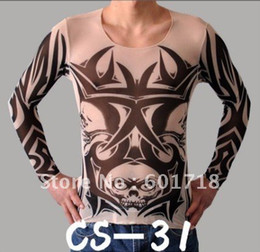 Wholesale Skull tattoo t shirt long personal tatoo sleeves T shirt cloth fake tattoo t shirt mix styles free
