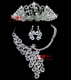 The bride accessories female jewelry the wedding alloy necklace rhinestone earrings piece set wedding dress formal dress