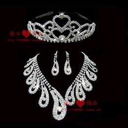 The bride accessories three pieces set accessories rhinestone necklace wedding jewellery wedding jewelry 01