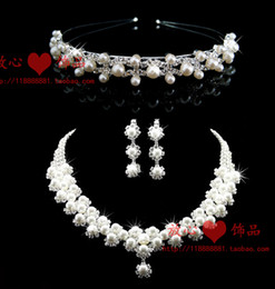 Fine bride accessories three pieces set accessories hair accessory necklace earrings wedding jewellery pearl necklace 65