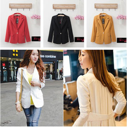 Wholesale Best selling ladies slim suits one button work suit back folded chiffon coats spring outwear