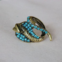 Wholesale 30pcs restore ancient ways diamond snake open ring