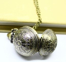 Wholesale 12pcs Steampunk Style Black Sphere Ball Quart Watch Necklace NW11073