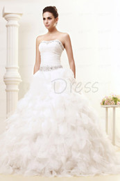 Wholesale 2013 Sumptuous A line Strapless Chapel Ruffles Taline s Wedding Dress